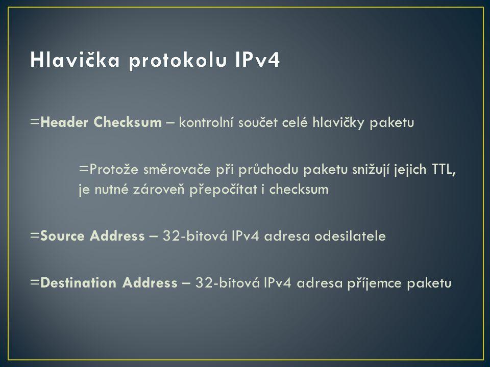 =Header Checksum – kontrolní součet celé hlavičky paketu =Protože směrovače při průchodu paketu snižují jejich TTL, je nutné zároveň přepočítat i chec