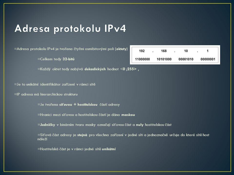 =Adresa protokolu IPv4 je tvořena čtyřmi osmibitovými poli (oktety) =Celkem tedy 32-bitů =Každý oktet tedy nabývá dekadických hodnot, =Je to unikátní
