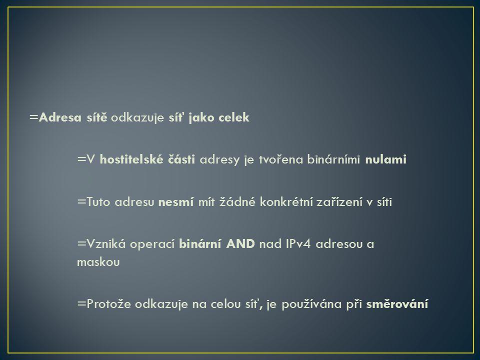 =Adresa sítě odkazuje síť jako celek =V hostitelské části adresy je tvořena binárními nulami =Tuto adresu nesmí mít žádné konkrétní zařízení v síti =V