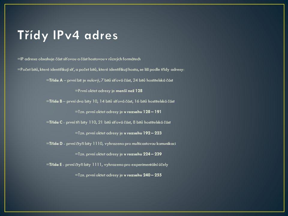 =IP adresa obsahuje část síťovou a část hostovou v různých formátech =Počet bitů, které identifikují síť, a počet bitů, které identifikují hosta, se l