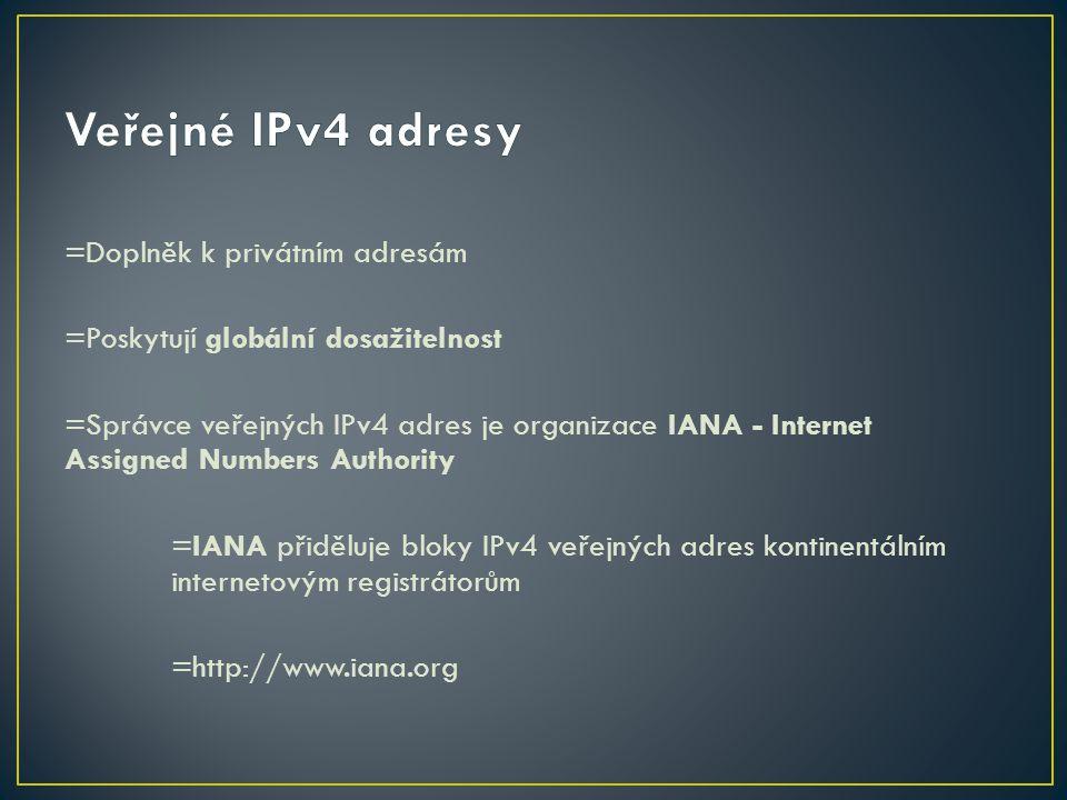 =Doplněk k privátním adresám =Poskytují globální dosažitelnost =Správce veřejných IPv4 adres je organizace IANA - Internet Assigned Numbers Authority