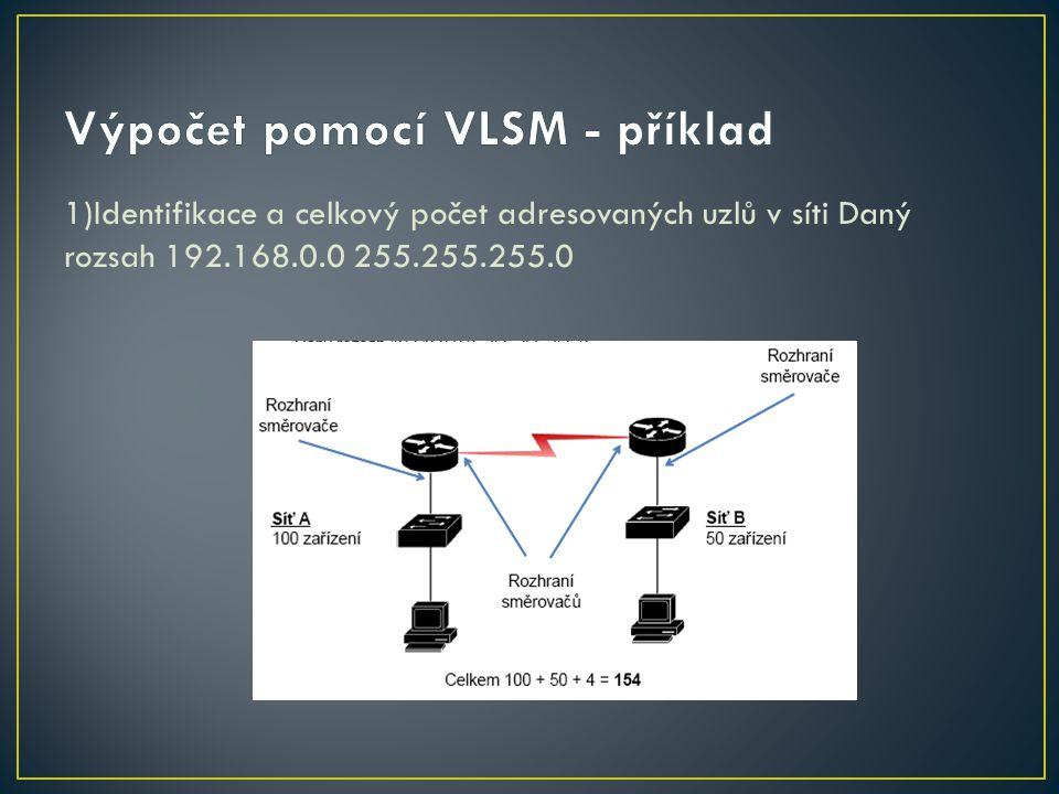 1)Identifikace a celkový počet adresovaných uzlů v síti Daný rozsah 192.168.0.0 255.255.255.0