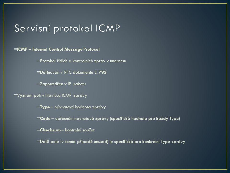 =ICMP – Internet Control Message Protocol =Protokol řídích a kontrolních zpráv v internetu =Definován v RFC dokumentu č. 792 =Zapouzdřen v IP paketu =