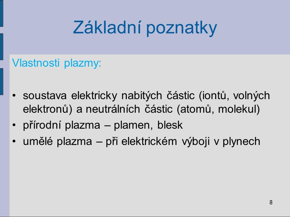 Základní poznatky Vlastnosti plazmy: soustava elektricky nabitých částic (iontů, volných elektronů) a neutrálních částic (atomů, molekul) přírodní pla
