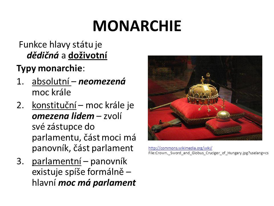 MONARCHIE Funkce hlavy státu je dědičná a doživotní Typy monarchie: 1.absolutní – neomezená moc krále 2.konstituční – moc krále je omezena lidem – zvolí své zástupce do parlamentu, část moci má panovník, část parlament 3.parlamentní – panovník existuje spíše formálně – hlavní moc má parlament http://commons.wikimedia.org/wiki/ File:Crown,_Sword_and_Globus_Cruciger_of_Hungary.jpg?uselang=cs