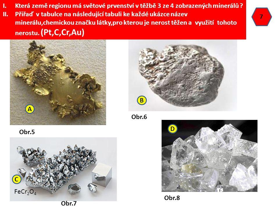 7 Obr.5 Obr.6 Obr.7 FeCr 2 O 4 Obr.8 I.Která země regionu má světové prvenství v těžbě 3 ze 4 zobrazených minerálů ? II.Přiřaď v tabulce na následujíc
