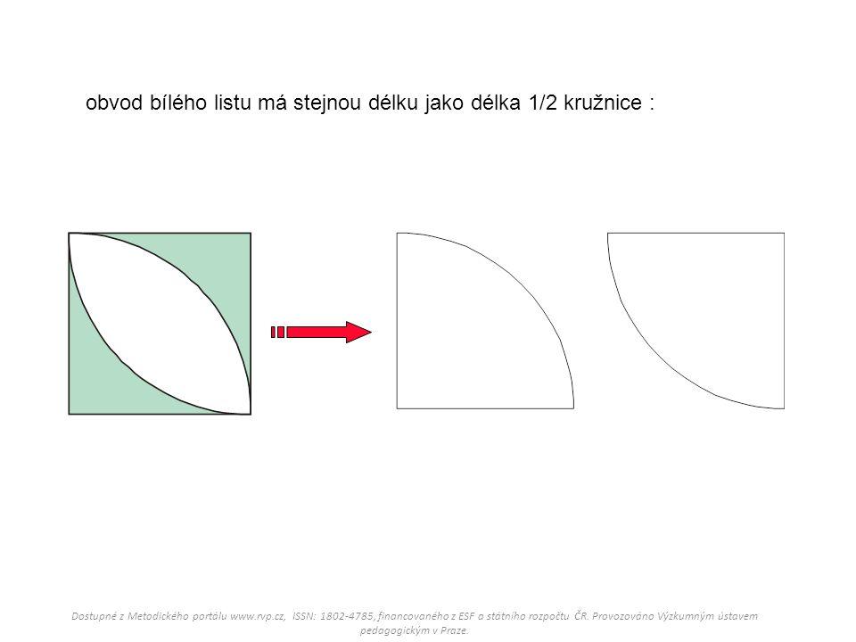 obvod bílého listu má stejnou délku jako délka 1/2 kružnice : Dostupné z Metodického portálu www.rvp.cz, ISSN: 1802-4785, financovaného z ESF a státní