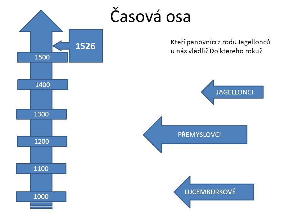 Časová osa JAGELLONCI PŘEMYSLOVCI LUCEMBURKOVÉ 1100 1200 1300 1400 1000 1500 1526 Kteří panovníci z rodu Jagellonců u nás vládli.