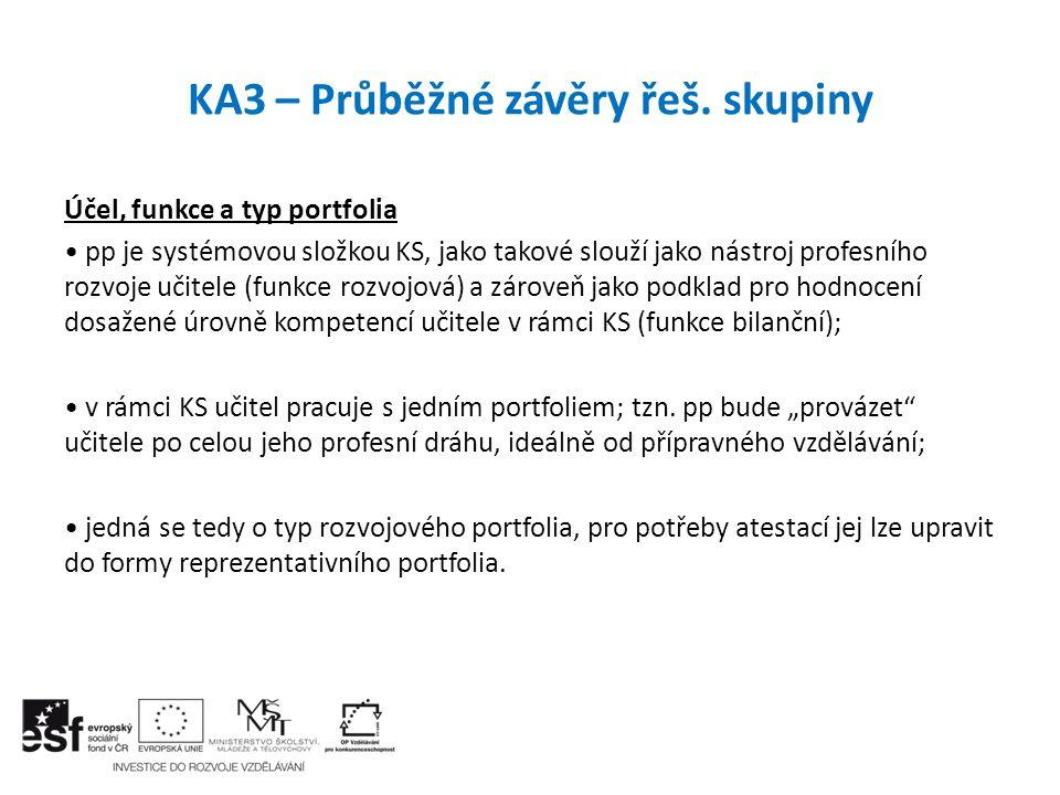 KA3 – Průběžné závěry řeš. skupiny Účel, funkce a typ portfolia pp je systémovou složkou KS, jako takové slouží jako nástroj profesního rozvoje učitel