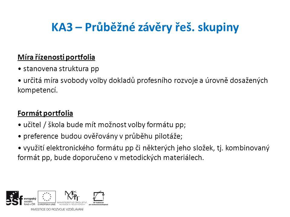 KA3 – Průběžné závěry řeš. skupiny Míra řízenosti portfolia stanovena struktura pp určitá míra svobody volby dokladů profesního rozvoje a úrovně dosaž
