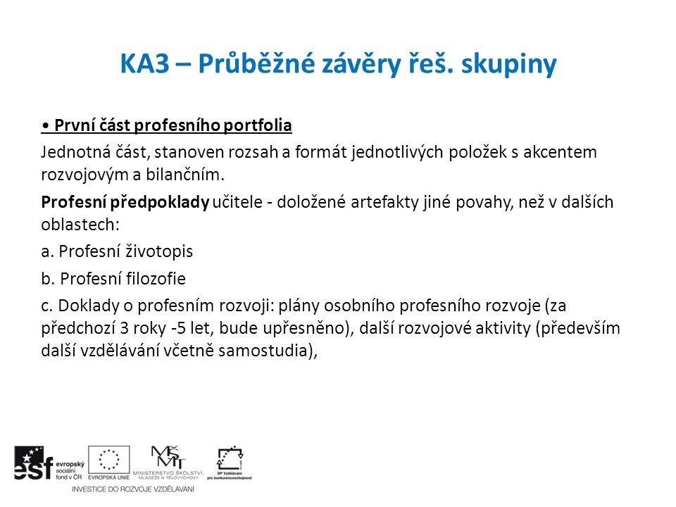 KA3 – Průběžné závěry řeš. skupiny První část profesního portfolia Jednotná část, stanoven rozsah a formát jednotlivých položek s akcentem rozvojovým