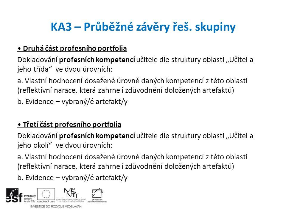 """KA3 – Průběžné závěry řeš. skupiny Druhá část profesního portfolia Dokladování profesních kompetencí učitele dle struktury oblasti """"Učitel a jeho tříd"""