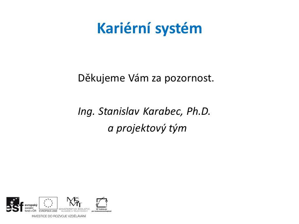 Kariérní systém Děkujeme Vám za pozornost. Ing. Stanislav Karabec, Ph.D. a projektový tým