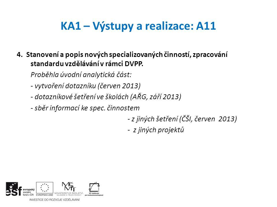 KA1 – Výstupy a realizace: A11 4. Stanovení a popis nových specializovaných činností, zpracování standardu vzdělávání v rámci DVPP. Proběhla úvodní an