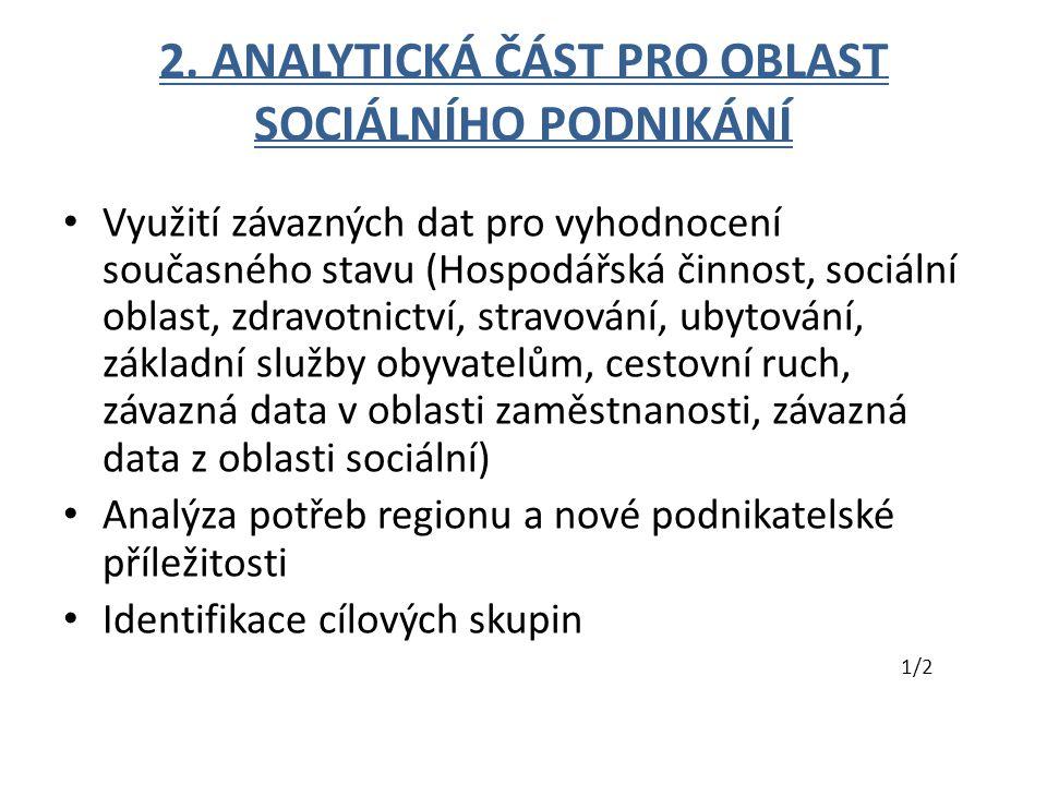 2. ANALYTICKÁ ČÁST PRO OBLAST SOCIÁLNÍHO PODNIKÁNÍ Využití závazných dat pro vyhodnocení současného stavu (Hospodářská činnost, sociální oblast, zdrav