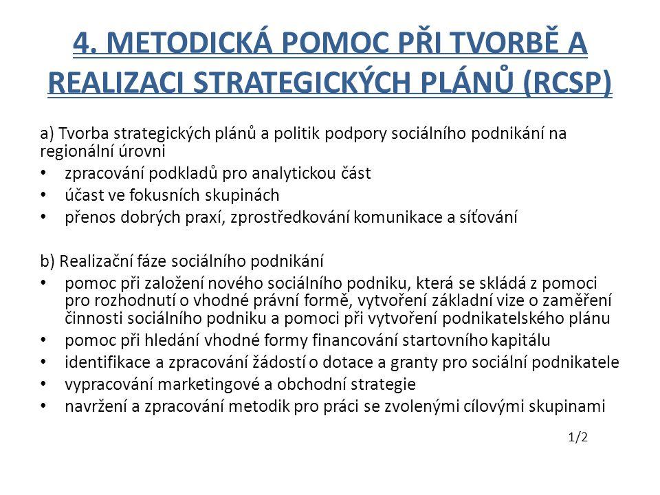4. METODICKÁ POMOC PŘI TVORBĚ A REALIZACI STRATEGICKÝCH PLÁNŮ (RCSP) a) Tvorba strategických plánů a politik podpory sociálního podnikání na regionáln