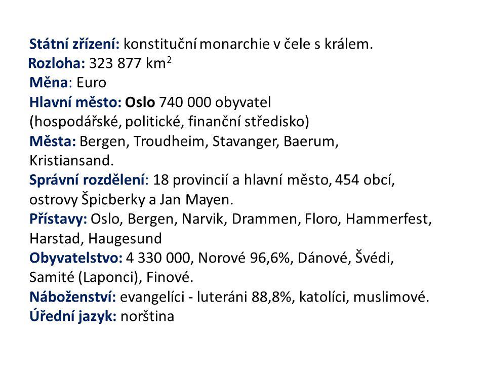 Státní zřízení: konstituční monarchie v čele s králem. Rozloha: 323 877 km 2 Měna: Euro Hlavní město: Oslo 740 000 obyvatel (hospodářské, politické, f