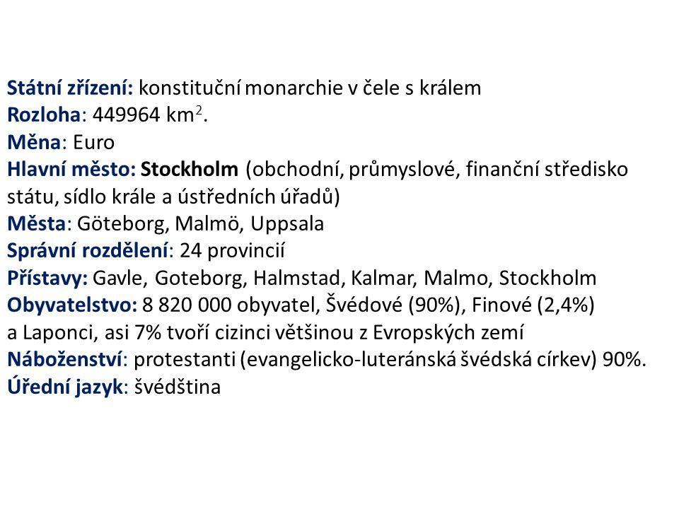 Státní zřízení: konstituční monarchie v čele s králem Rozloha: 449964 km 2. Měna: Euro Hlavní město: Stockholm (obchodní, průmyslové, finanční středis