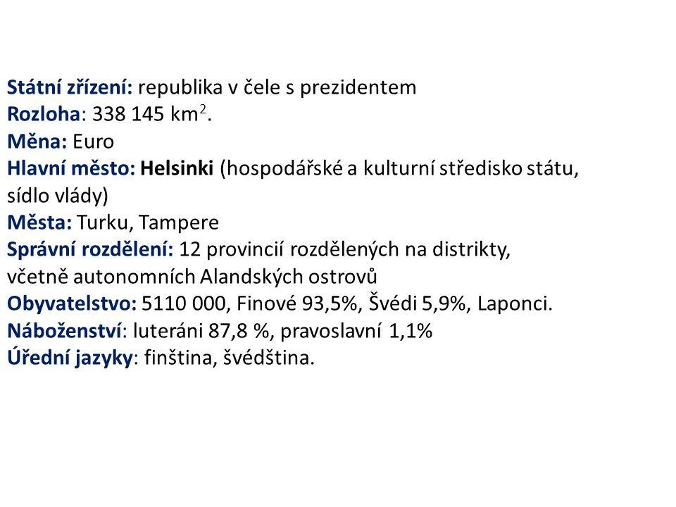 Státní zřízení: republika v čele s prezidentem Rozloha: 338 145 km 2. Měna: Euro Hlavní město: Helsinki (hospodářské a kulturní středisko státu, sídlo
