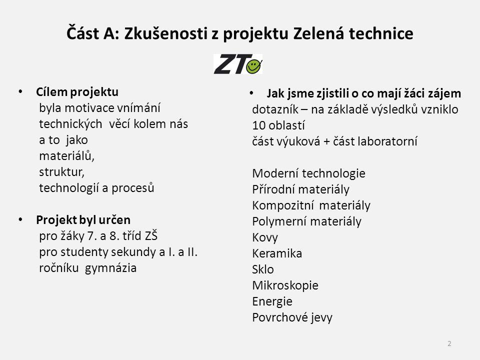 Část A: Zkušenosti z projektu Zelená technice Cílem projektu byla motivace vnímání technických věcí kolem nás a to jako materiálů, struktur, technologií a procesů Projekt byl určen pro žáky 7.