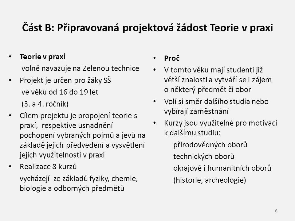 Část B: Připravovaná projektová žádost Teorie v praxi Teorie v praxi volně navazuje na Zelenou technice Projekt je určen pro žáky SŠ ve věku od 16 do 19 let (3.