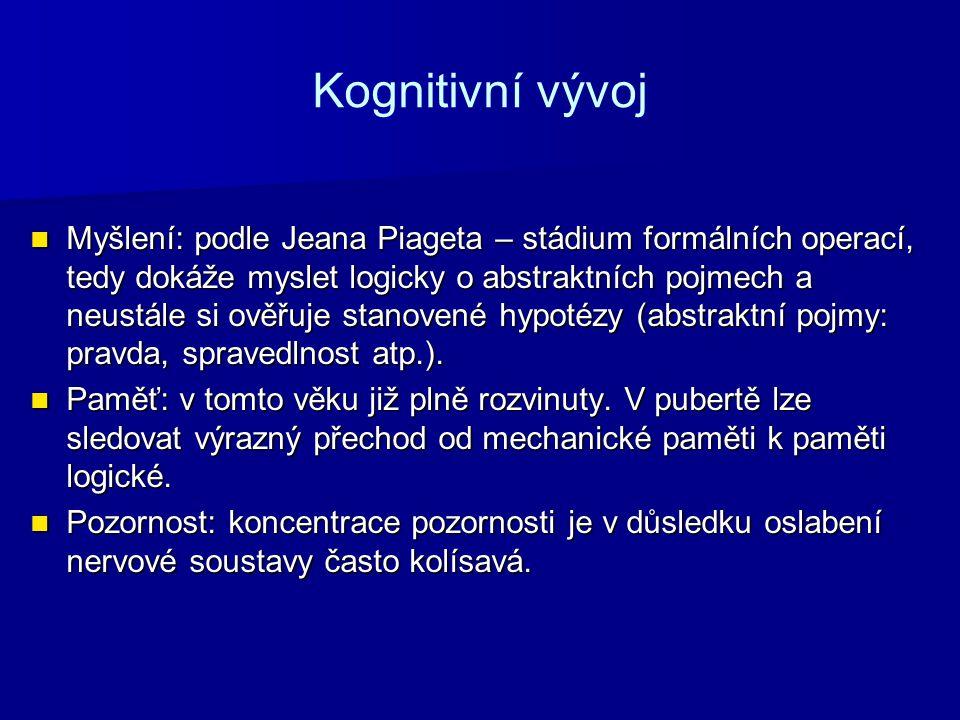 Kognitivní vývoj Myšlení: podle Jeana Piageta – stádium formálních operací, tedy dokáže myslet logicky o abstraktních pojmech a neustále si ověřuje st