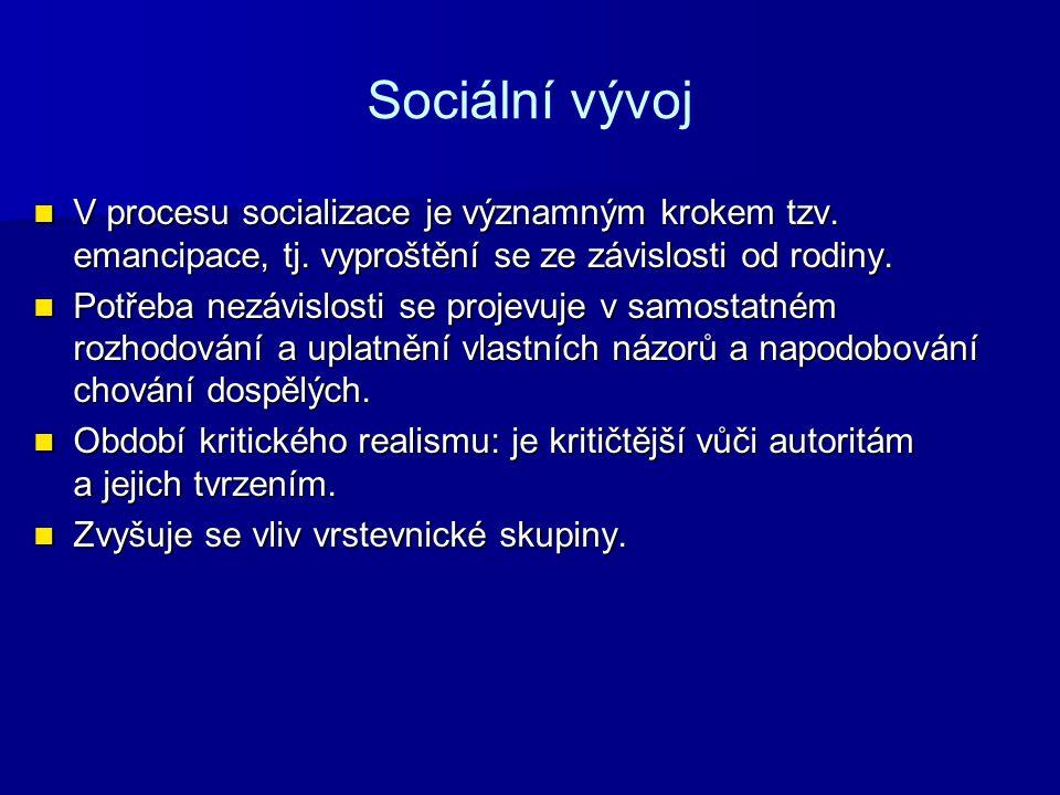 Sociální vývoj V procesu socializace je významným krokem tzv. emancipace, tj. vyproštění se ze závislosti od rodiny. V procesu socializace je významný