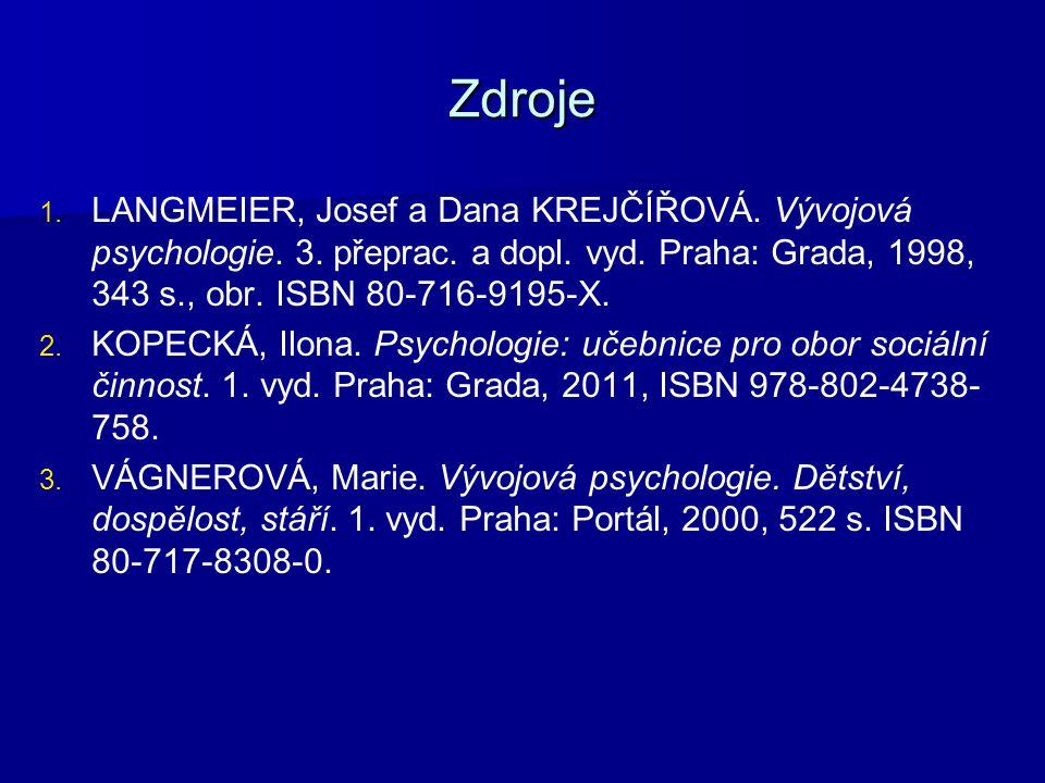 Zdroje 1. 1. LANGMEIER, Josef a Dana KREJČÍŘOVÁ. Vývojová psychologie. 3. přeprac. a dopl. vyd. Praha: Grada, 1998, 343 s., obr. ISBN 80-716-9195-X. 2
