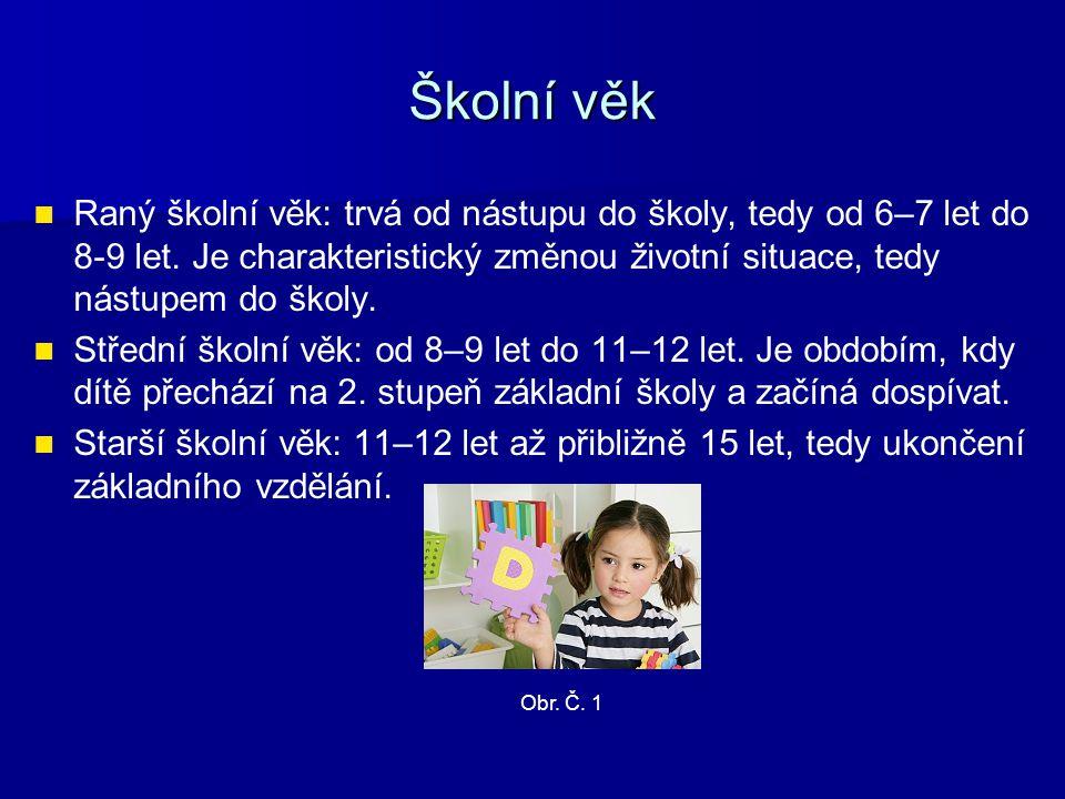 Mladší školní věk Somatický vývoj: Somatický vývoj: ●Je rovnoměrnější a pomalejší, děti za rok vyrostou asi o 4,5–5,5 cm a přibývají na hmotnosti přibližně 2–3 kg.