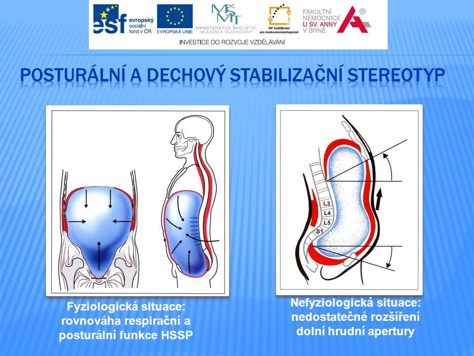Fyziologická situace: rovnováha respirační a posturální funkce HSSP Nefyziologická situace: nedostatečné rozšíření dolní hrudní apertury