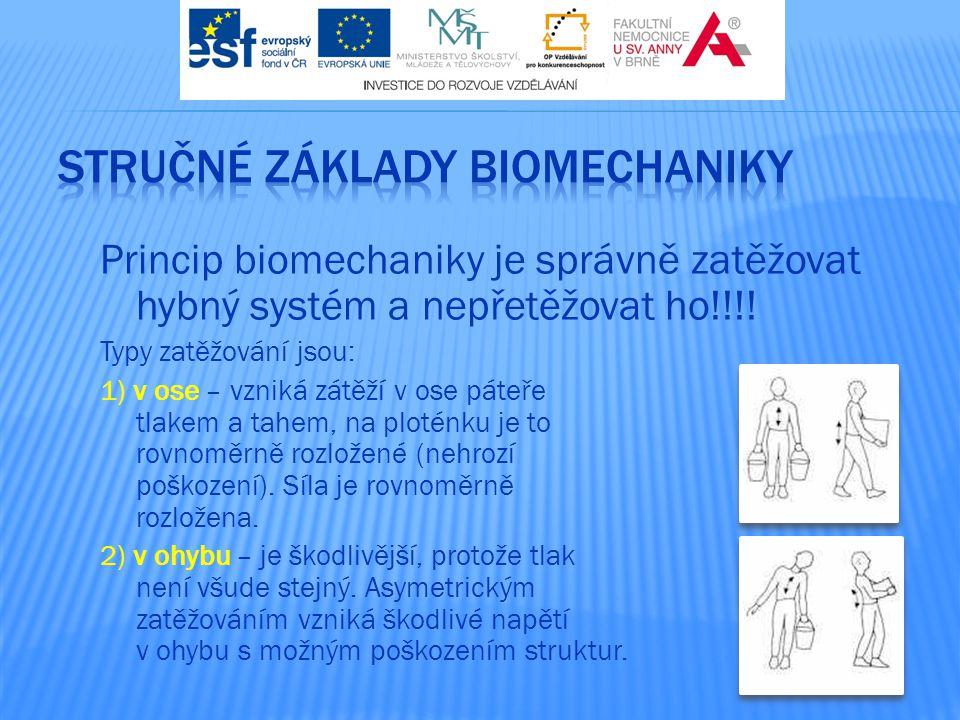 Princip biomechaniky je správně zatěžovat hybný systém a nepřetěžovat ho!!!! Typy zatěžování jsou: 1) v ose – vzniká zátěží v ose páteře tlakem a tahe