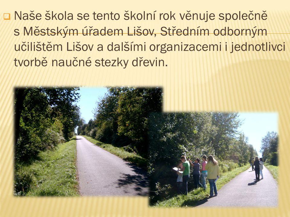  Naše škola se tento školní rok věnuje společně s Městským úřadem Lišov, Středním odborným učilištěm Lišov a dalšími organizacemi i jednotlivci tvorbě naučné stezky dřevin.