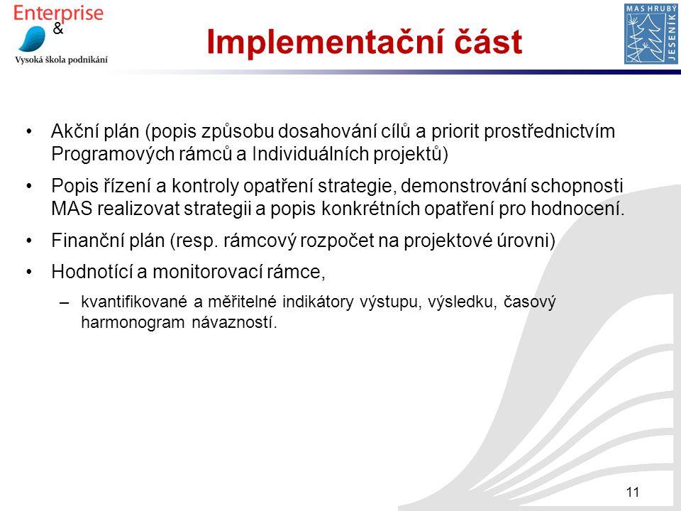 & Implementační část Akční plán (popis způsobu dosahování cílů a priorit prostřednictvím Programových rámců a Individuálních projektů) Popis řízení a