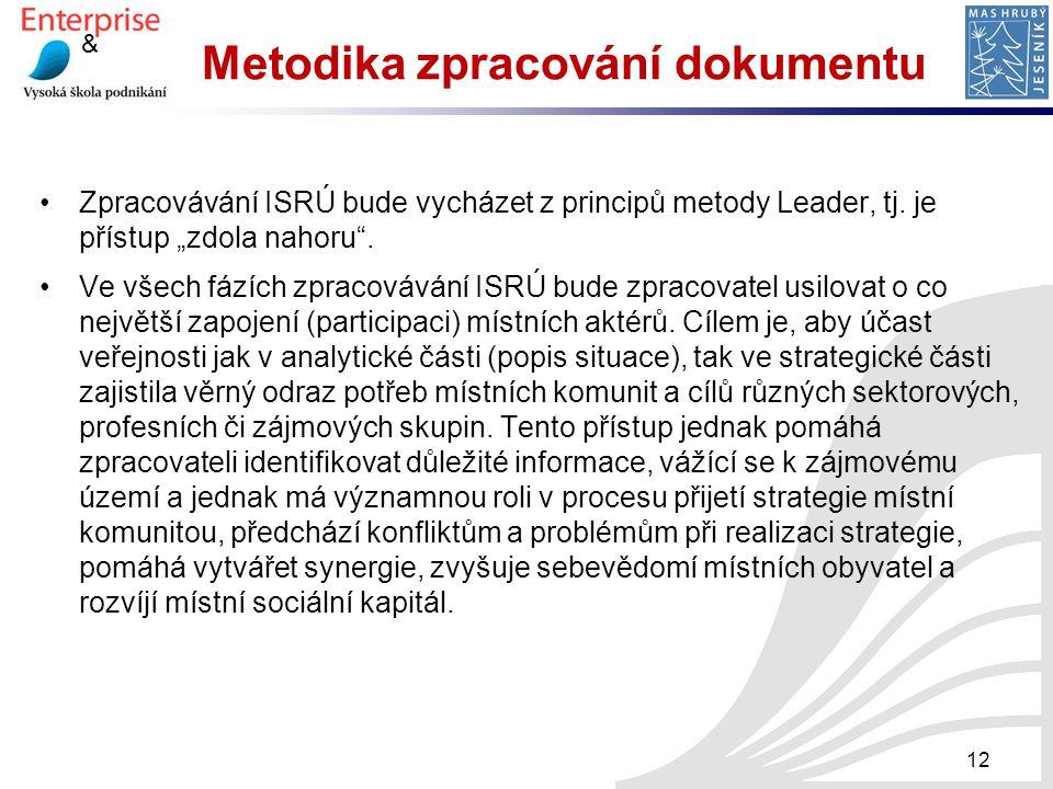"""& Metodika zpracování dokumentu Zpracovávání ISRÚ bude vycházet z principů metody Leader, tj. je přístup """"zdola nahoru"""". Ve všech fázích zpracovávání"""