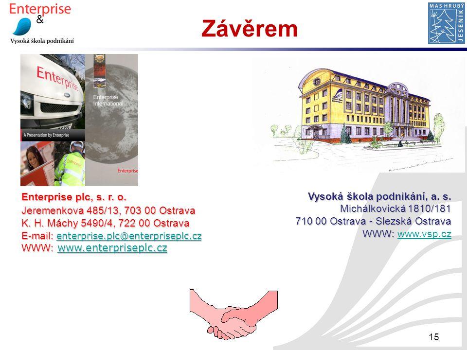 & 15 Závěrem Enterprise plc, s. r. o. Jeremenkova 485/13, 703 00 Ostrava K. H. Máchy 5490/4, 722 00 Ostrava E-mail: enterprise.plc@enterpriseplc.cz en