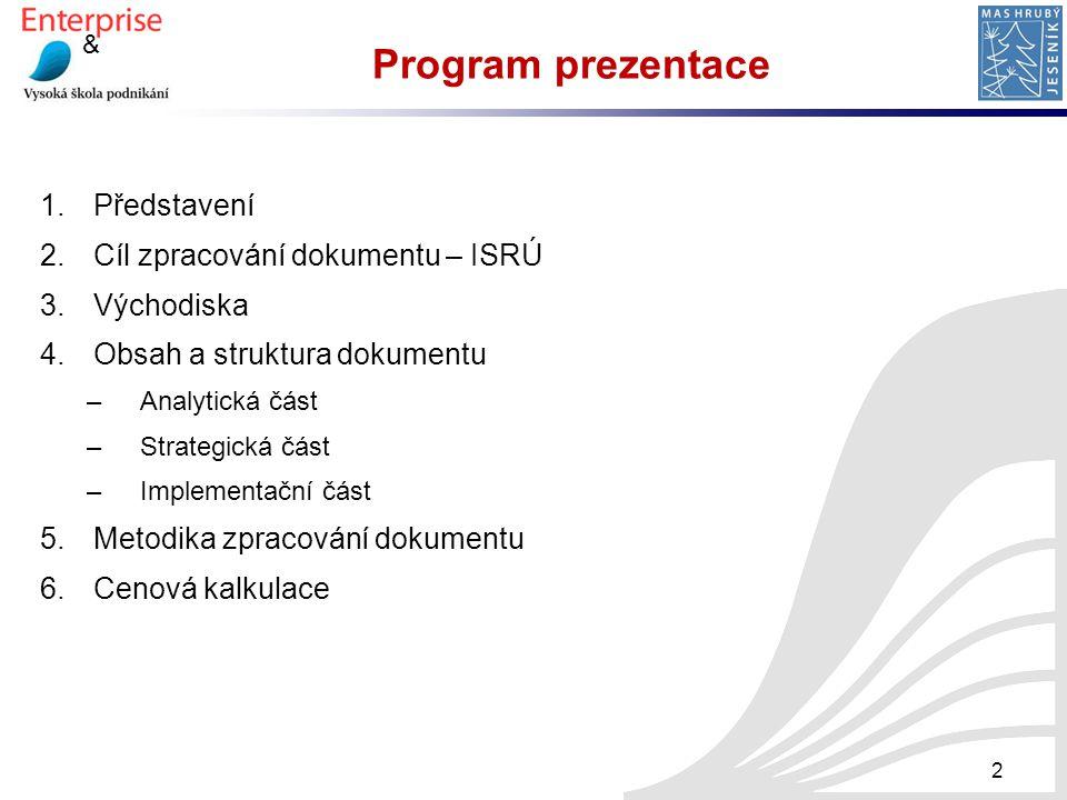 & 2 Program prezentace 1.Představení 2.Cíl zpracování dokumentu – ISRÚ 3.Východiska 4.Obsah a struktura dokumentu –Analytická část –Strategická část –