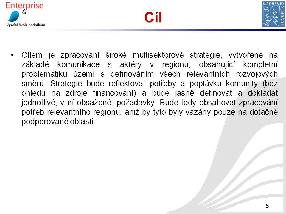 & Cíl Cílem je zpracování široké multisektorové strategie, vytvořené na základě komunikace s aktéry v regionu, obsahující kompletní problematiku území
