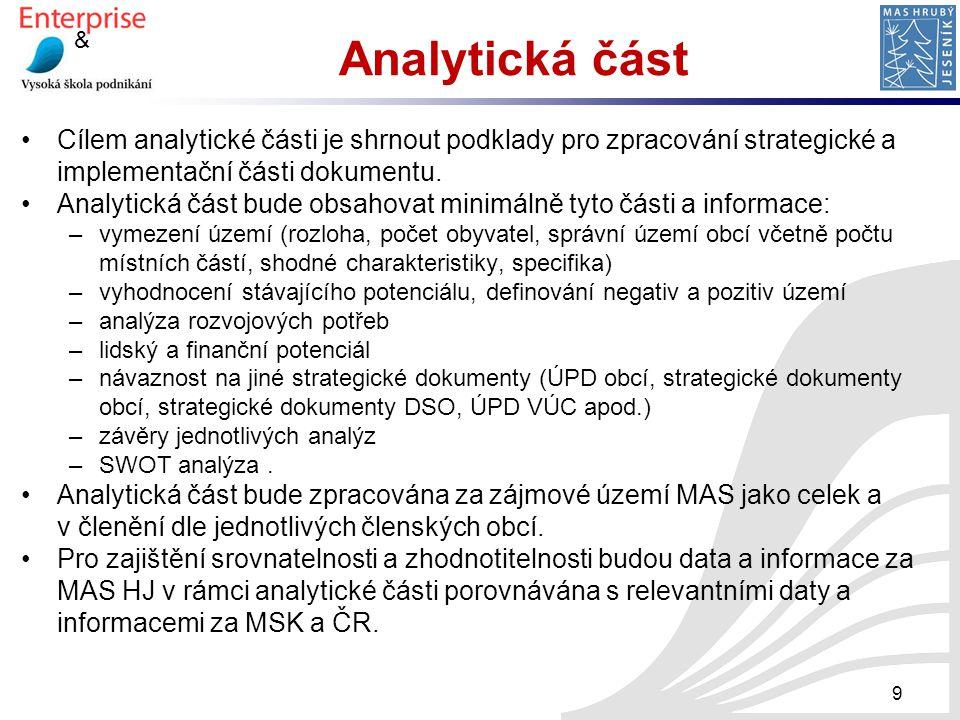 & Analytická část Cílem analytické části je shrnout podklady pro zpracování strategické a implementační části dokumentu. Analytická část bude obsahova