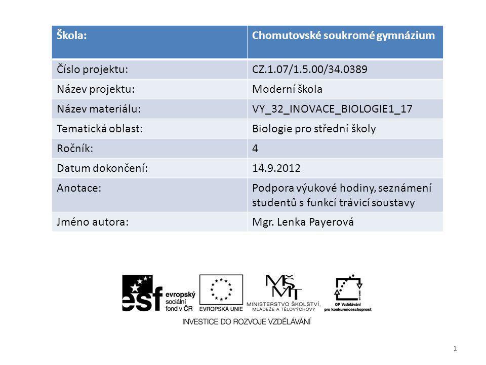 1 Škola:Chomutovské soukromé gymnázium Číslo projektu:CZ.1.07/1.5.00/34.0389 Název projektu:Moderní škola Název materiálu:VY_32_INOVACE_BIOLOGIE1_17 T