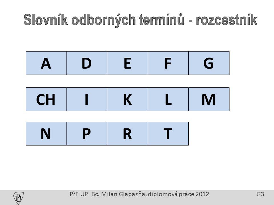 PřF UP Bc. Milan Glabazňa, diplomová práce 2012 G3 ADEFG CHIKLM NPRT