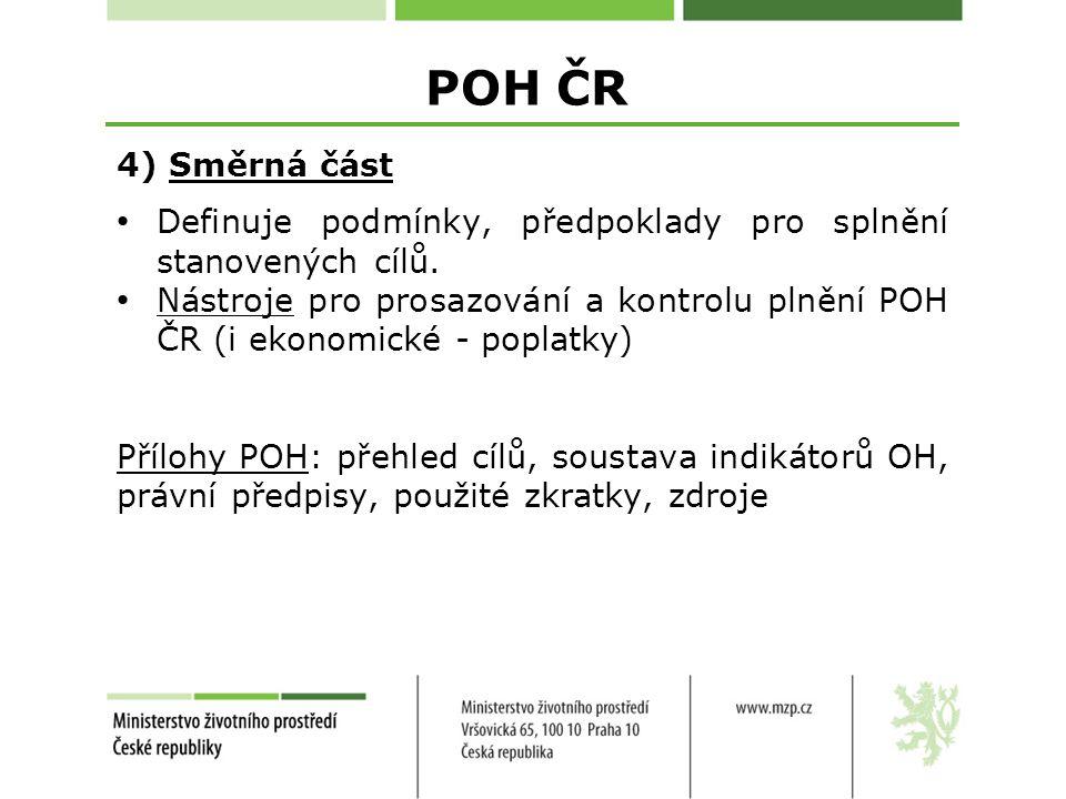 POH ČR 4) Směrná část Definuje podmínky, předpoklady pro splnění stanovených cílů.