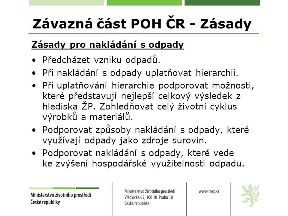 Závazná část POH ČR - Zásady Zásady pro nakládání s odpady Předcházet vzniku odpadů.