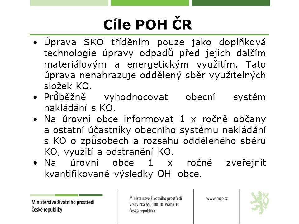 Cíle POH ČR Úprava SKO tříděním pouze jako doplňková technologie úpravy odpadů před jejich dalším materiálovým a energetickým využitím.