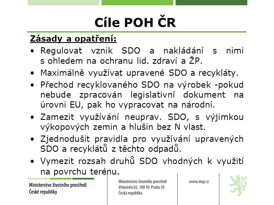 Cíle POH ČR Zásady a opatření: Regulovat vznik SDO a nakládání s nimi s ohledem na ochranu lid.