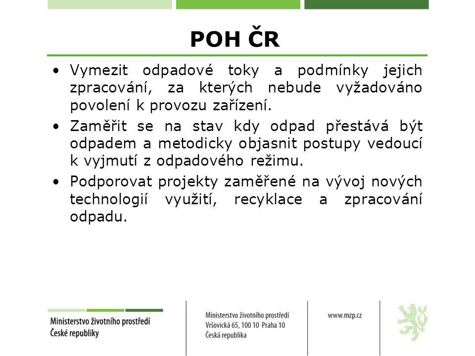 POH ČR Vymezit odpadové toky a podmínky jejich zpracování, za kterých nebude vyžadováno povolení k provozu zařízení.