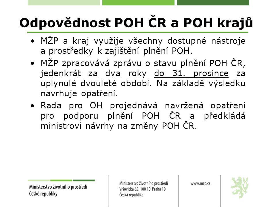 Odpovědnost POH ČR a POH krajů MŽP a kraj využije všechny dostupné nástroje a prostředky k zajištění plnění POH.