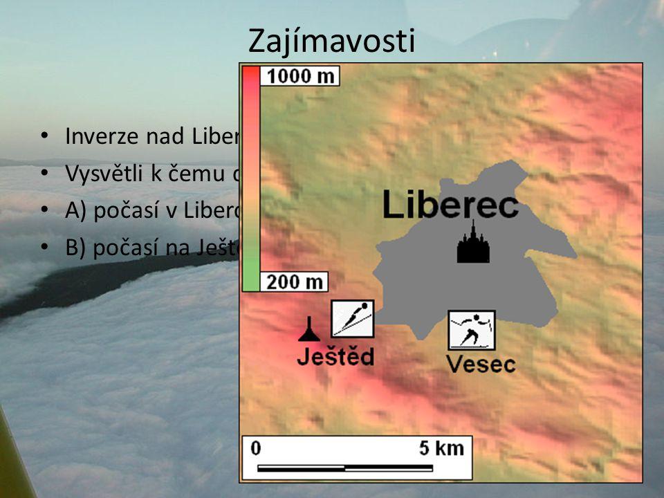 Zajímavosti Inverze nad Libercem Vysvětli k čemu dochází: A) počasí v Liberci B) počasí na Ještědu A) zataženo, chladno, zhoršené rozptylové podmínky= vznik smogu B) Jasno, o několik stupňů tepleji než v údolí.