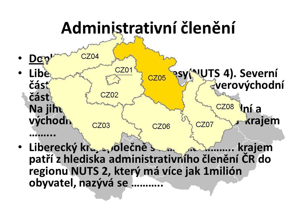 Doplň vety (str.16-17): Liberecký kraj tvoří čtyři okresy(NUTS 4).