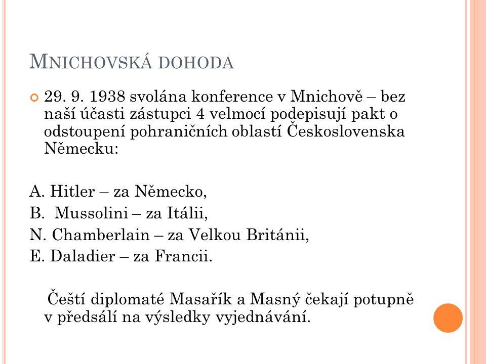 M NICHOVSKÁ DOHODA 29. 9. 1938 svolána konference v Mnichově – bez naší účasti zástupci 4 velmocí podepisují pakt o odstoupení pohraničních oblastí Če
