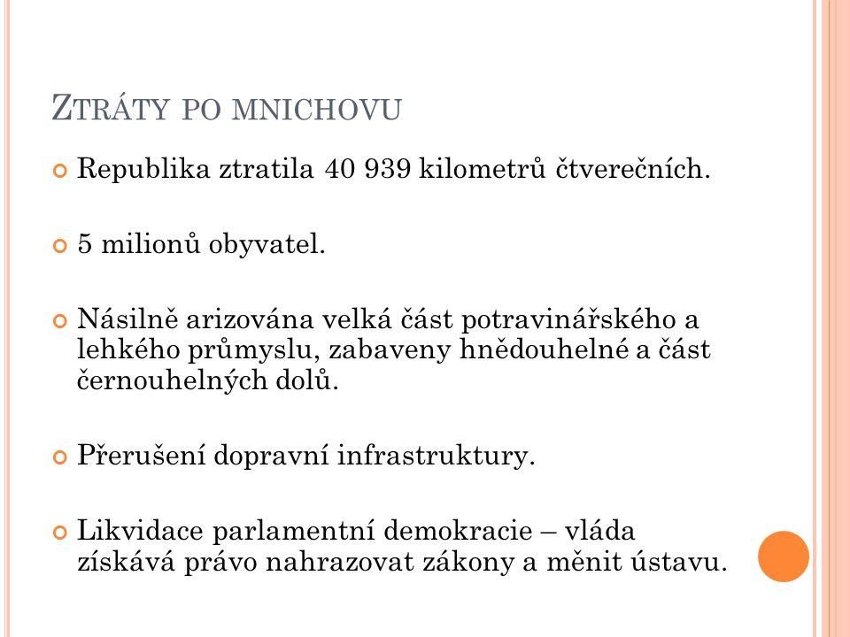 Z TRÁTY PO MNICHOVU Republika ztratila 40 939 kilometrů čtverečních.